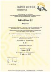 RvA Certificaat L410 OMEGAM-Water bv geldig tot 01-03-2019