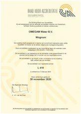 RvA Certificaat L410 OMEGAM-Water bv geldig tot 2020-11-30